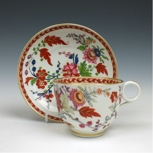 Worcester Flight and Barr Rich Kakiemon Teacup and Saucer c1800