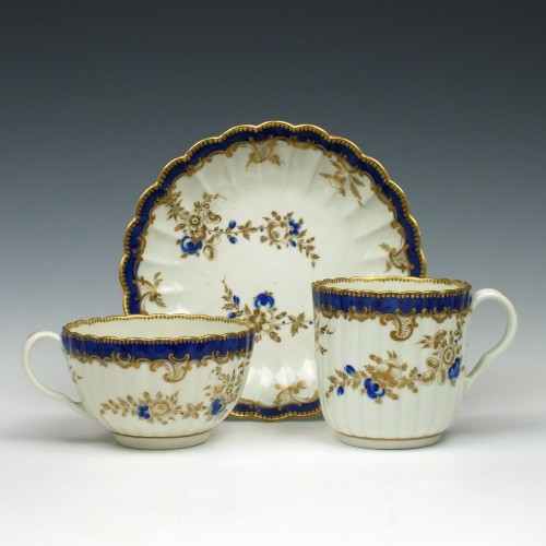 Worcester Fluted Porcelain Trio c1780
