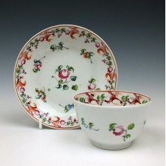 New Hall Porcelain Pattern 748 Teabowl and Saucer c1800