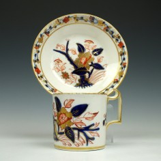 Derby Porcelain Imari Pattern Coffee Can and Saucer c1815