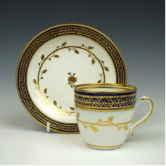 Caughley Porcelain Coffee Cup and Saucer c1787