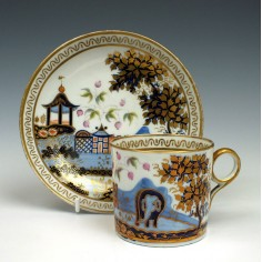 New Hall Elephant Pattern Coffee Can and Saucer, c1810