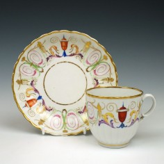 Rare Ribbed Coalport Porcelain Coffee Cup and Saucer C1805