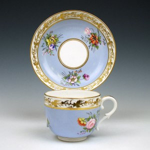 Derby Stevenson and Hancock Porcelain Cup and Saucer 1865