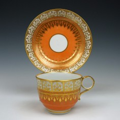 Worcester Flight and Barr Teacup and Saucer c1800