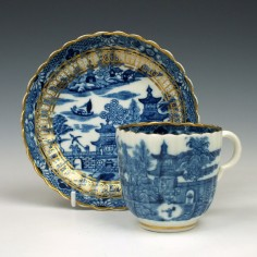 Caughley Temple Pattern Coffee Cup and Saucer c1782 -94