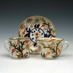 New Hall Porcelain Imari Pattern Trio c1800
