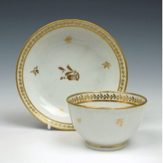New Hall Porcelain Pattern 264 Teabowl and Saucer c1787
