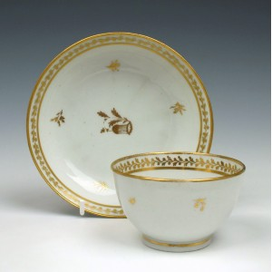 Early New Hall Porcelain Pattern 264 Teabowl and Saucer c1787