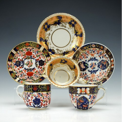 Three Derby Porcelain Cups and Saucers