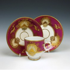 English Magenta Ground Coffee cup, Saucer and Plate c1815
