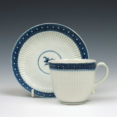 Worcester Porcelain Ribbed Cell Border Coffee Cup and Saucer c1770