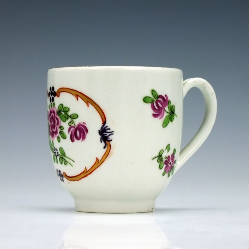 Worcester Hand Coloured Coffee Cup c1770-90