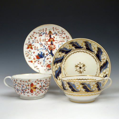 Two Derby Porcelain Breakfast Cups and Saucers c1820-25