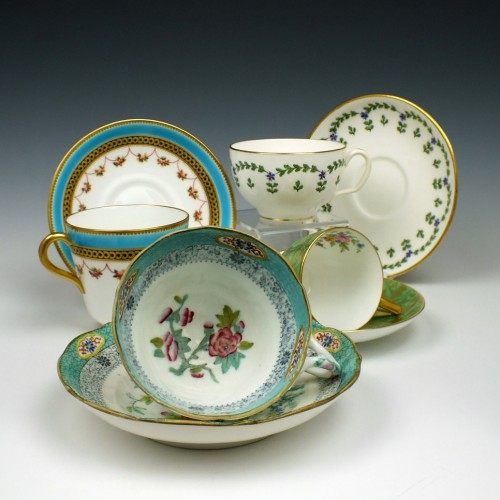A 100 year Collection of Minton Porcelain Cups and Saucers