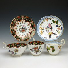 C J Masons Trio and Coffee Cup and Saucer c1806