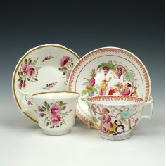 Hilditch And Coalport 19th Century Porcelain Cups and Saucers c1825-35 Was £50