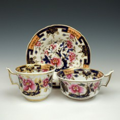 Chamberlains Worcester Floral Pattern 1100 Trio c1825