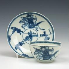 Worcester Eloping Bride Teabowl and Saucer c1765-70