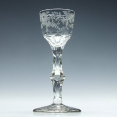18th Century Engraved Facet Cut Stem Wine Glass