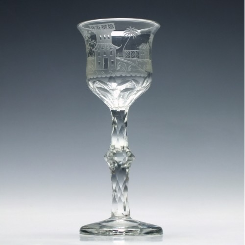 Chinoiserie Engraved 18th Century Facet Cut Stem Wine Glass c1790