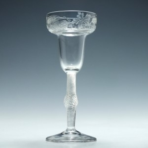 Engraved 18th Century Pan Topped Air Twist Wine Glass