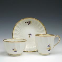 Derby Porcelain Spiral Moulded Trio c1790