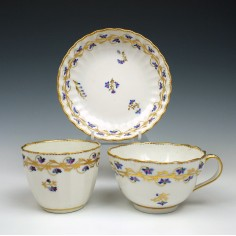 Derby Porcelain Teacup, Saucer and Teabowl c1790