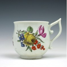 A Rare Worcester Pixie Ear Handle Floral Pattern Coffee Cup c1765