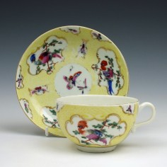 A Very Rare First Period Worcester Yellow Scale Tea Cup and Saucer c1770