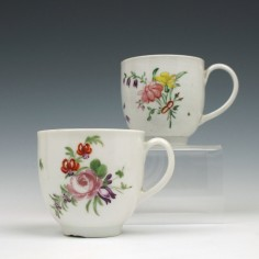 Two Bristol Porcelain Floral Pattern Coffee Cups c1774-81