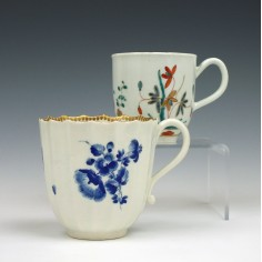 Two Worcester Porcelain Onglaze Decorated Coffee Cups c1775