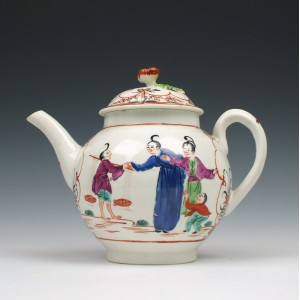 Worcester Boy In the Window Pattern Teapot and Cover c1770