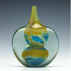 Signed Mdina Cut Ice Glass Lollipop Vase 1980