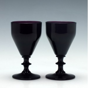 Pair of Victorian Amethyst Port Wine Glasses c1880