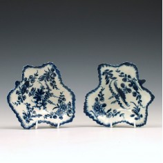 First Period Worcester Blue & White Pickle Dishes c1765