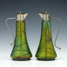 Pair of Green Kralik Spirit Or Liqueur Jugs c1900