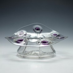 Rare Stuart and Sons Amethyst Peacock Trails Glass Vase c1910