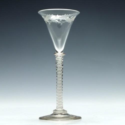 Engraved Scottish Opaque Twist Cordial Glass c1790