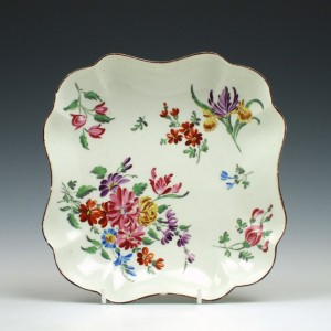 Giles Decorated Worcester Scalloped Dessert Dish c1765
