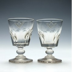 Pair of Masonic Engraved Glass Rummers c1820