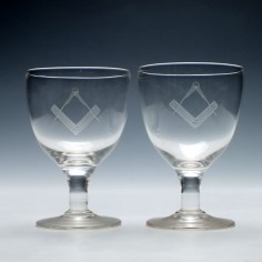 Pair of Victorian Masonic Engraved Glass Rummers c1880