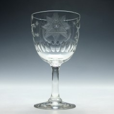 19th Century Masonic Engraved Wine Goblet 1865