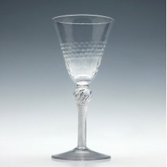 Tall 18th Century Air Twist Wine Glass With a Moulded Bowl c1750