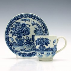 Worcester Bat Pattern Coffee Cup and Saucer c1785
