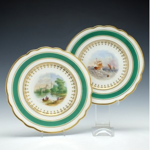 Pair Chamberlains Worcester Porcelain Plates c1820
