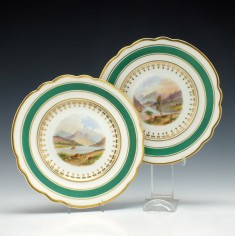 Pair of Hand Painted Landscape Chamberlains Worcester Porcelain Plates c1820