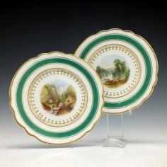 Hand Painted Chamberlains Worcester Porcelain Landscape Plates c1820