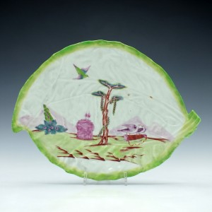RESERVED T.M. - Rare First Period Worcester Valentine Pattern Leaf Dish c1758
