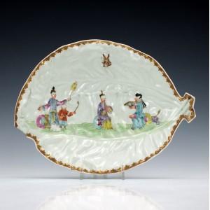Worcester Porcelain Mandarin Pattern Leaf Dish c1770